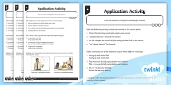 Using Commas to Clarify Meaning Application Activity Sheet  -  GPS, commas, clarify, ambiguity, change meaning, ks2, key stage 2, year 5, year 6,coma, worksheet