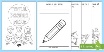 Totul despre mine Broșură cu activități - dezvoltare personală, cine sunt eu, română, emoții, relații, nou an școlar,Romanian