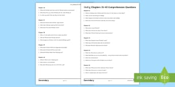 Chapters 31-40 Comprehension Questions Activity Sheet to Support Teaching on 'Skellig' by David Almond - Skellig, David Almond, Michael, Mina, KS3 Literature, KS3 Novel, Low Ability Reading, Year 7 Novel,