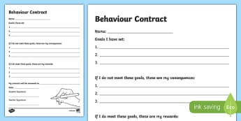 Behaviour Contract Writing Activity Sheet -Australia, worksheet
