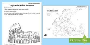 Capitalele țărilor europene Fișă de lucru - geografie, europa, capitala, capitalele europene, țările europei, european, capitală europeană,