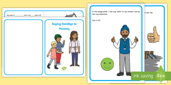 Saying Goodbye to Mummy Social Situation - social story, stories, transition, separation anxiety, going to school,