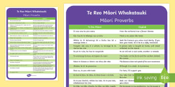 Te Reo Māori whakatauki A4 Display Poster - Māori Phrase Book, whakatauki, proverbs