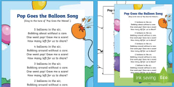 Pop Goes the Balloon Song - take away, subtraction, less, fewer, smaller, counting, early maths, calculations