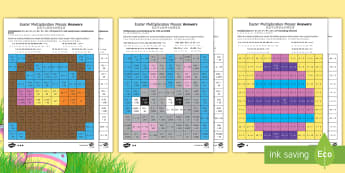 Easter Multiplication Mosaics Differentiated Activity Sheets English/Mandarin Chinese - UKS2 Easter 2017 (16th April), year five, year 5, Y5, year 6, year six, Y6, maths, multiplication, k
