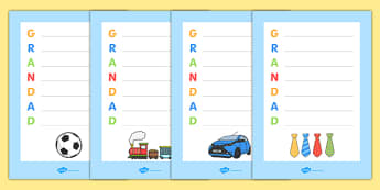 Grandad' Acrostic Poem Templates - grandad acrostic poem, fathers day, grandad poem template, grandad poem, grandad acrostic poem template, grandfather