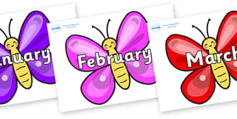Months of the Year on Butterflies - Months of the Year, Months poster, Months display, display, poster, frieze, Months, month, January, February, March, April, May, June, July, August, September