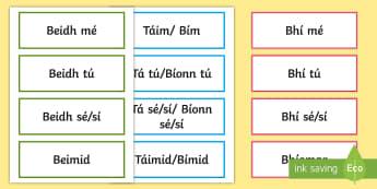 Irregular Verbs: Bí - To Be Word Cards Gaeilge - Bí,Briathra, Neamhrialta, Irregular, Verbs, Irish,Irish