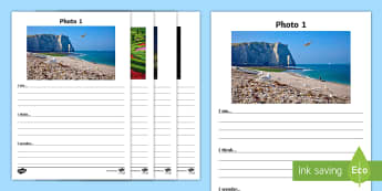 France Themed I See, I Think, I Wonder Writing Activity Sheet-Scottish - CfE Literacy, writing, group discussion, class discussion, discuss, writing stimulus, France, listen