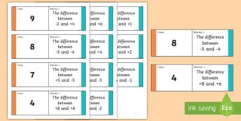 Algebra – Positive and Negative Number Loop Cards - algebra, Positive, negative, difference, between, backwards,Irish