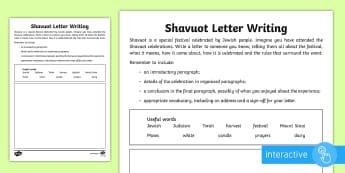 KS2 Shavuot Letter Writing Go Respond Activity Sheet - Shavuot,(30.5.17), KS2, year 3, year 4, year 5, year 6, yr 3, yr 4, yr 5, yr 6, Judaism, Jewish cele