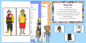 People Who Help Us Puzzle Game Busy Bag Prompt Card and Resource Pack - People Who Help Us, teacher, role, job, primary, what does a teacher do, responsibilities, duties, s