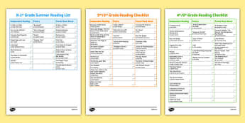 Common Core Summer Reading Checklists - usa, america, reading list, end of year