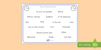 Time Conjunctions Word Mat - time, phrases, conjunctions, vocabulary, english