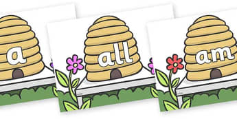 Foundation Stage 2 Keywords on Beehives - FS2, CLL, keywords, Communication language and literacy,  Display, Key words, high frequency words, foundation stage literacy, DfES Letters and Sounds, Letters and Sounds, spelling