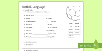 Fun with Football Language Activity Sheet - Spoken Language, English Language, verbs, metaphor, sentences, worksheet