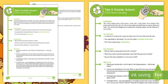KS1 Take It Outside: Autumn STEM - Nature Stamping Activity - Little Acorns, Twinkl originals, fiction, Outdoor and Woodland Learning, Wonder Investigate Learn Di