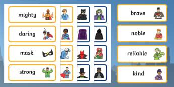 Superhero Hero and Villain Word Cards - superheroes, hero, villain, word cards, words, cards