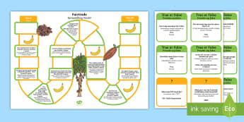 Fairtrade Board Game English/Polish - Fairtrade, chocolate, bananas, football, symbol, board game, fair trade, jungle, farming, farmers, s