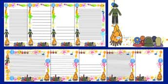 Bonfire / Fireworks Page Borders - Page border, border, Bonfire, Fireworks Night, Guy, Autumn, A4, display, firework, bang, crackle, woosh, rocket, sparkler, catherine wheel, screech, whirl, fire, bonfire, leaves, gloves