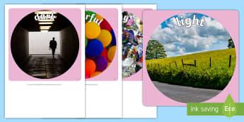 Sensory Words (Sight) Display Photo Cut-Outs - Australia, EYLF, senses, kindergarten, preschool, nursery, reception, pre-primary, prep, display, si