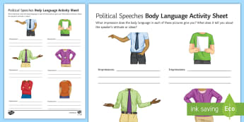 Body Language Activity Sheet - Secondary - Event - General Election 08/06/2017 , persuasive devices, worksheet, speeches, public sp