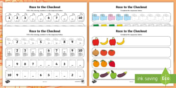 Race to the Checkout Maths Patterns Activity Activity Sheet - worksheet, ROI, sequence, missing numbers, Exploring My World, repeating, repeated, continue, next,I