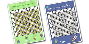 Multiplication Visualiser - multiplication, multiplication chart, space themed multiplication visualiser, flower themed multiplication visualiser, ks2