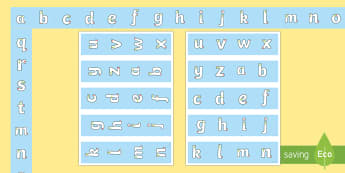A to Z Tracing Letters Display Borders - alphabet, handwriting, ABC, handwriting, visuals, tracing, writing, letter formation