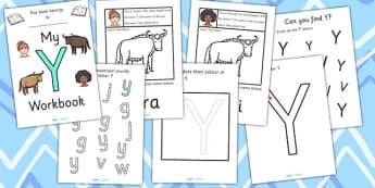 My Workbook Y uppercase - workbook, Y sound, uppercase, letters, alphabet, activity, handwriting, writing