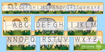 Recta alfabética de exposición: La jungla - La jungla, trans-curricular, animales, salvajes, mono, elefante, hipopótamo, guepardo, cocodrilo, c