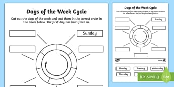 Days of the Week Circle Cut and Stick Activity Sheet - days of the week, circle, cut and stick, activity