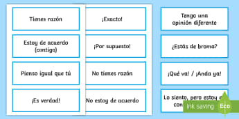 Agreeing and Disagreeing Expressions Word Cards - Spanish - Spanish, Vocabulary, agreeing, disagreeing, cards, expressions, Agreeing and Disagreeing Expressions