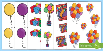 Balloons Size Ordering - EYFS, Early Years, KS1, Key Stage 1, Maths, Numeracy, Shape, Space and Measure, size, balloon, birth