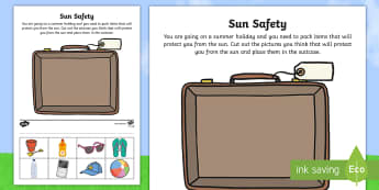Sun Safety Cut and Paste Activity - sun safety, paste, activity