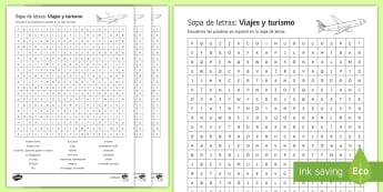 Travel and Tourism Differentiated Word Search Spanish - Secondary, 15, Minute, Revision, Activities, worksheet, activity, sheet, travel, tourism, holidays,