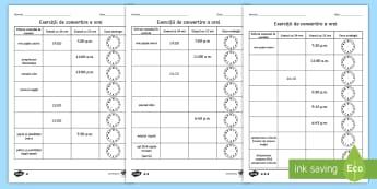 Exerciții de convertire a orei - Fișă - Ceas, timp, unități de măsură, citirea ceasului, conversia orei, materiale, matematică, matemat