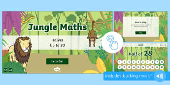 Jungle Maths: Halves up to 20 Game, Twinkl Go, twinkl go, TwinklGo, twinklgo