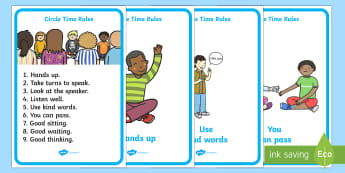 Circle Time Rules Display Posters - Circle time, rules, rule, SEN, behaviour management, PSHE, SEAL, carpet time, circle, display banner, display, good sitting