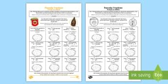 Pancake Themed Equivalent Fractions Activity Sheet English/Romanian - CfE Pancake Day, equivalent fractions, shrove Tuesday, quarter, half, halves, same,Scottish, eal