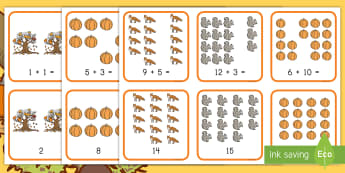 Fall Addition Matching Cards - Fall, Addition, Matching Cards, Math Games, Autumn, basic addition, addition facts