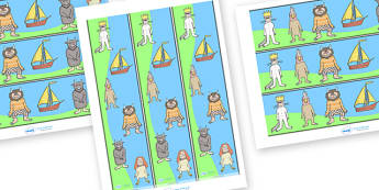 Display Borders to Support Teaching on Where the Wild Things Are - Where the Wild Things Are, Maurice Sendak, Wild Things, resources, Max, wild rumpus, boat, wolf suit, dream, fantasy, story, story book, story book resources, story sequencing, story