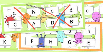 Upper and Lowercase Letter Matching Threading Cards - threading