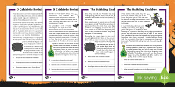 The Bubbling Cauldron Differentiated Reading Comprehension Activity English/Portuguese - Halloween, october, festival, autumn, celebration, spooky, ghosts, witch, zombies, eal