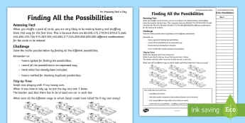 Finding All the Possibilities Activity Sheet - amazing fact august, maths problem, systematic, maths problem solving, worksheet, working systematic