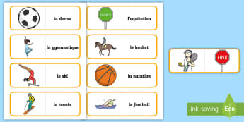 Sports Card Game French - French Games, french sport, french card games, self-correcting card games.