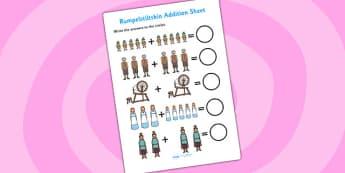 Rumpelstiltskin Addition Sheet - rumpelstiltskin, addition sheet, addition, worksheets, maths, numeracy, themed addition sheet, adding, plus, add, sheets