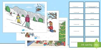 Scene de iarnă - Set cu planșe și cartonașe cu întrebări - iarnă, imagini de iarnă, întrebări, citirea imaginilor, citire după imagini, anotimpuri, Romani