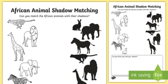 African Animal Shadows Matching  Activity Sheet - Worksheet, Africa, animals, Tinga Tinga, activity, shadows, match up, match-up
