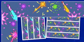 Firework / Bonfire Night Display Borders - Display border, classroom border, border, Guy, Autumn, A4, display, bang, crackle, woosh, sparkler, catherine wheel, screech, whirl, fire, bonfire, leaves, gloves